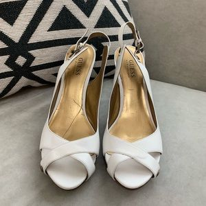 Guess white leather heels. Size 9. Great condition